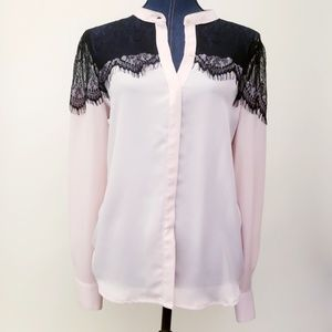 🌈LC Lauren Conrad Pink Black Lacey Blouse Med🌈